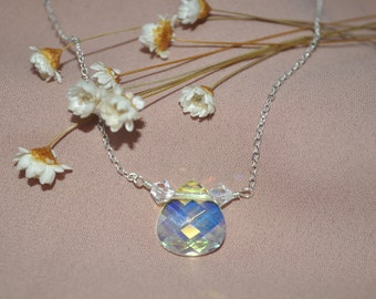 925 Sterling Silver Chain and Swarovski Crystal AB Tear Drop Necklace
