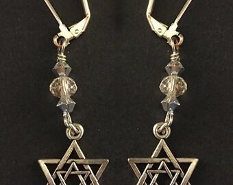 Silver Star of David in Star of David Earrings with Swarovski Crystals - Magen David Earrings - Jewish Star Earrings - Jewish Jewelry