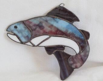 fish, multi-colored glass, sun catcher, HappyGlass06, dad, grandpa, fisherman, Fathers Day, ready to ship