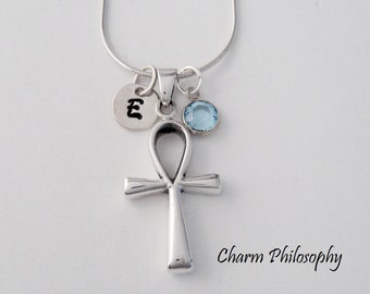 Ankh Necklace - 925 Sterling Silver - Personalized Initial Birthstone Jewelry - Egyptian Ankh Pendant