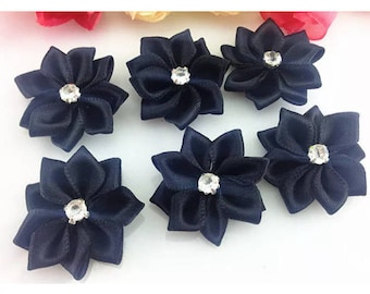 SET OF 5 APPLIQUES FLOWER SATIN SIZE 2.5 CM