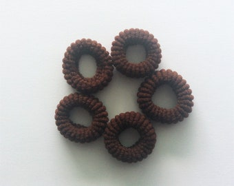 SALE!!!  5 small soft hair elastic ties brown baby children girl The Weavers Mill