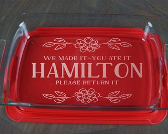 Personalized Casserole Dish Pyrex Baking Dish Engraved Name Christmas Present Mother's Day Wedding Gift A39
