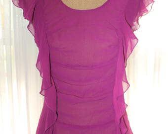 Vintage 1990's Sheer Fuchsia Blouse With Ruffles