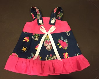 Sugar Skull Anchor Heart Key Baby Infant Toddler Girls Dress  You Pick Size