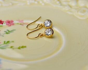 Gold CZ Earrings, Tiny Gold Earrings, Gold Filled Jewelry, Petite Simple Gold Earrings, Dainty Drop Earrings, Best Sellers, Bridal Earrings