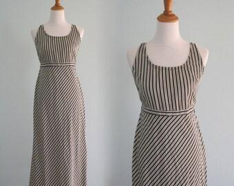 90s Striped Sundress - Vintage Black and White Striped Sundress - Chic 90s Boho Maxi Dress - Vintage 1990s Sundress M