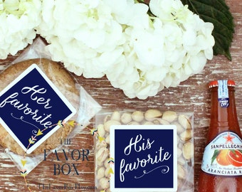 6 EACH - 12 (total) - Wedding Welcome Bag - Snack Bag Labels // Wedding Welcome Box - Snack Bag Labels // His Favorite and Her Favorite