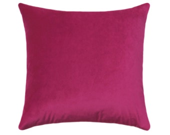 Hot Pink Pillow Cover, Velvet Throw Pillow, Magenta Pillow, Pink Pillow, Velvet Pillow, Solid Orchid Throw Pillow, Obsession Magenta Cover