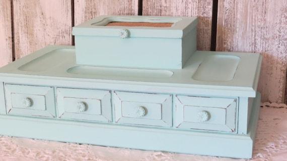 dresser valet jewelry box aqua coastal jewelry box wood