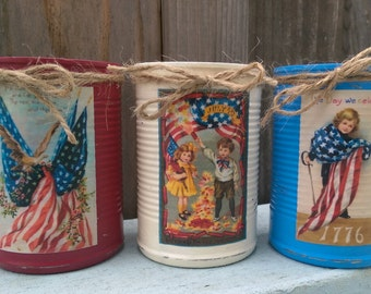 3 Americana Primitive Tin Cans Vases Shabby Chic Rustic Farmhouse Patriotic Flag Labor Memorial Day 4th of July 4 Red White Blue Centerpiece