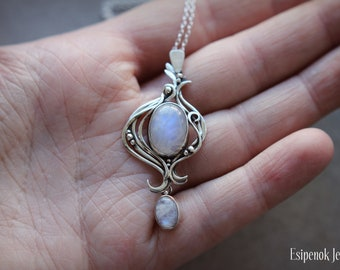 Moonstone gemstone necklace Sterling silver 925 floral pendant June birthstone Something blue Wedding moon wire wrap jewelry Nature inspired
