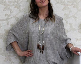 Knitted Linen Batwing Oversized Pullover Top    Melange