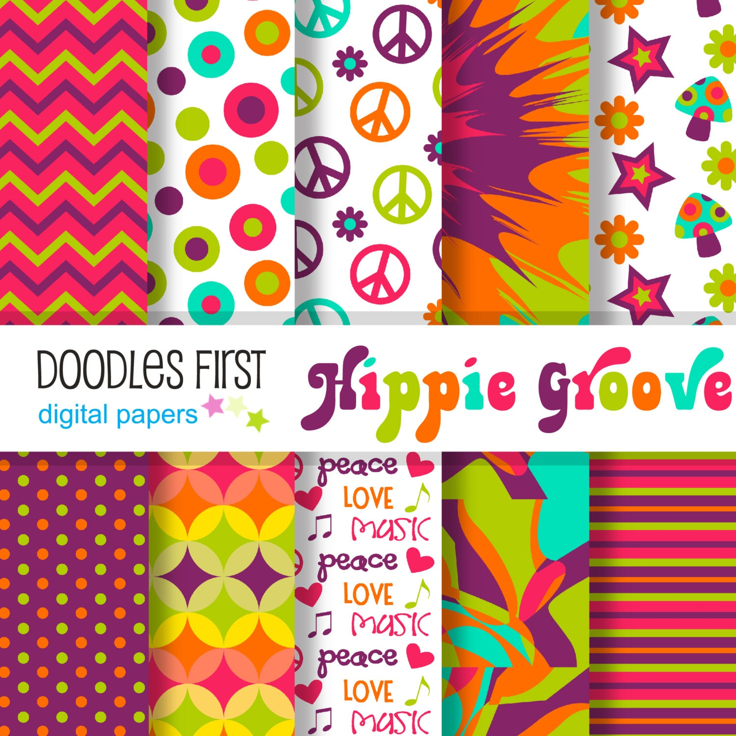 Hippie groove digital paper pack includes 10 for scrapbooking hippie groove digital paper pack includes 10 for scrapbooking paper crafts jeuxipadfo Choice Image