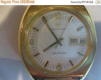 ON SALE Vintage Hamilton Electronic Balance Wheel Mens Date Watch