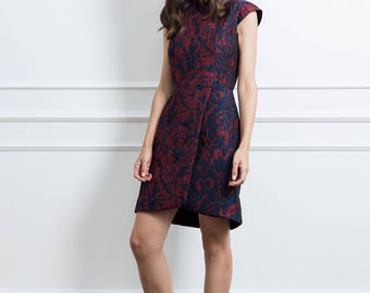 Red Dress with Short Sleeves - Red and Blue Jacquard Outfit - Floral Knee Length Dress - Wrap Dress with Back Closure - Elegant Style Dress