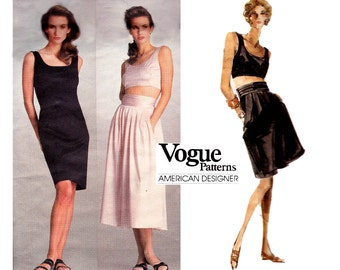 Vogue American Designer 2054 PERRY ELLIS Womens Dress Midriff Top Skirt & Shorts 80s Vintage Sewing Pattern Size 6 UNCUT Factory Folded
