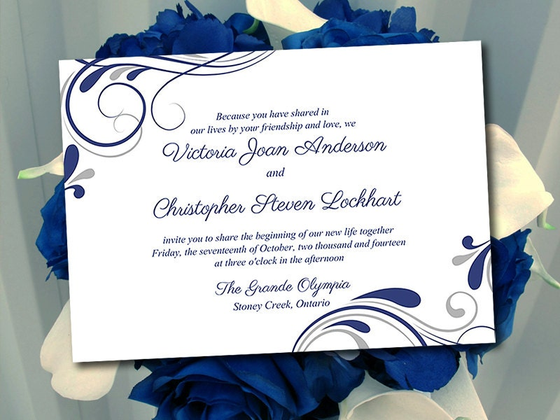 Wedding Invitation Template Winter Wedding Navy Blue Silver