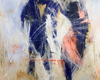 Abstract painting, couple, 24 x 36, Wall Art, acrylic on canvas, Œuvre art, original, Nadia Gallo