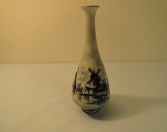 German Dutch Windmill Themed Vase