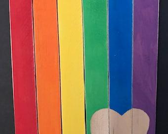Wooden Rainbow Heart Flag Vertical Plaque