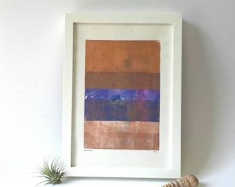 Monotype Druck, abstrakte Monoprint, minimalistisches Design, original-Artworks, geometrische Muster, moderne Kunst, zeitgenössische Kunst, Druck Kunst