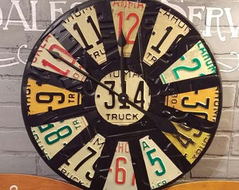Vintage License Plate Clock