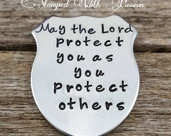 May the lord protect you challenge coin police officer law enforcement graduation gift Thin Blue Line gift