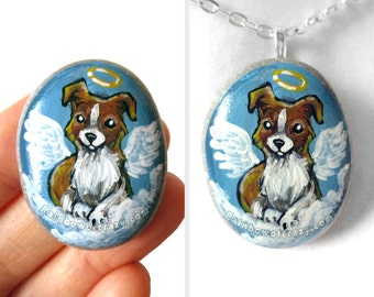 Border Collie Dog Necklace, Angel Jewelry, Hand Painted Pebble, Rock Art, Blue Pendant, Pet Memorial Stone, Sympathy Gift for Her