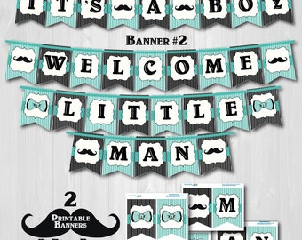"Printable Little Man Baby Shower Banners-Printable Mustache Baby Shower Banner-""It's A Boy"" and ""Welcome Little Man"" Banners ONLY-Teal"