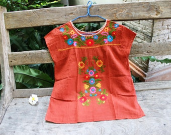 M-L Bohemian Embroidered Top - Brick Orange