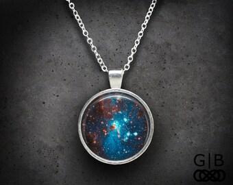 Blue Galaxy Necklace Pendant - Galaxy Star Necklace Jewelry - Galaxy Blue Necklace Pendant - Blue Galaxy Jewelry Necklace - Galaxy Pendant
