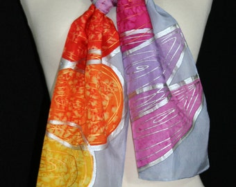 Silk Scarf. Multicolored Hand Painted Silk Shawl HAWAIIAN LEAVES. Birthday, Bridesmaid Gift. Hand Dyed. Size 8x54.