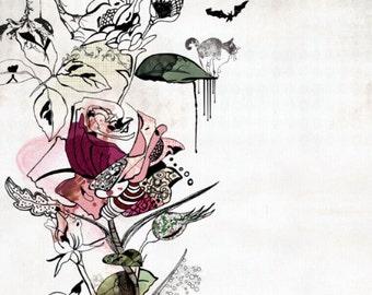 Watercolor Painting, Rose Art, Original illustration, Mixed media,Flowers painting, 8x10 print