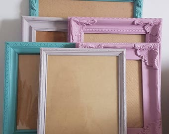 GREEN + PINK + GREY Custom Painted Frames Sets of 5, 9, 12 + 15 -Collection of Shabby Vintage Chic Assorted Frames -Colour Choices Available