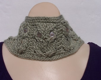 Cabled owl cowl in light sage