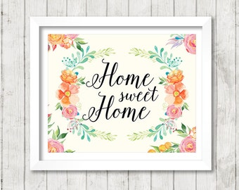 Home sweet Home - white background - Art Print Poster - 8 x 10 inch - Art Calligraphy