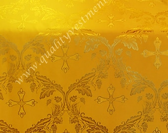 "CLEARANCE! EXTRA WIDE 3 meters (118"") and 2.3 m long piece Liturgical Grapevine pattern Lightweight Rayon Yellow Gold"