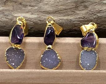 Amethyst Druzy Pendant, Amethyst Pendant, Druzy Pendant, Amethyst Druzy Pendant, One of A Kind, 18 Karat Gold, PG09