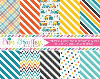 80% OFF SALE Train Boys Choo Choo Party Digital Paper Pack Commercial Use Instant Download