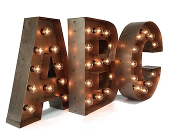 """18"""" Marquee LETTERS ... custom steel marquee letter, light up letter, marquee letter, A B C D E F G H I J K L N O P Q R S T U V W X Y Z &"""