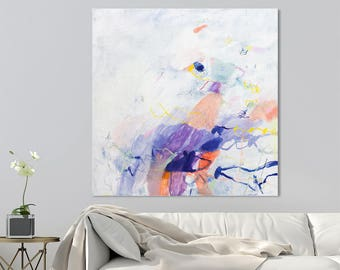 Large ABSTRACT PAINTING Original Abstract art canvas White Painting with Ultra Violet Purple 32x32 cool acrylic painting by Duealberi