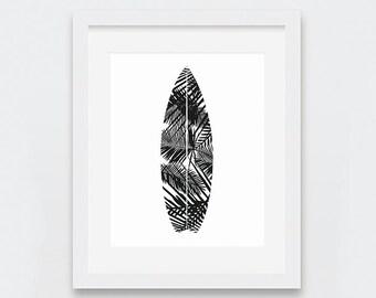 Surfboard Prints, Surfboard Wall Art, Beach House Decor, Tropical Decor, Black and White Art, Palm Leaves,  Summer Wall Art, Beach Vibes