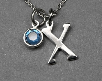 Initial necklace, Birthstone initial necklace, initial birthstone, birthstone jewelry, personalized charm, bridesmaid gift, best friend gift