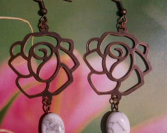 Pink earrings in copper and howlite beads