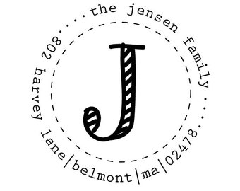 circle initial 2 rubber address stamp