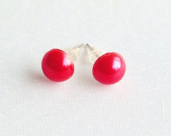 Red Faux Pearl Stud Earrings, Scarlet Pearl Studs, Bright Red Earrings With Silver-Plated Posts