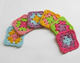 Granny square appliques crocheted colorful mix 1 1/2 inches, 6pc.