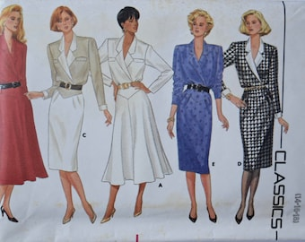 Vintage 1980's Butterick 4193 Sewing Pattern Notched Collar Dress Extended Shoulders Flared or Straight Skirt UNCUT Factory Folds Size 14-18