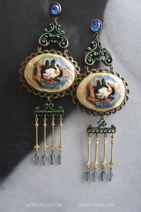 Chandelier Earrings PALACE Portugal Antique Fresco SWAN National Palace of Sintra - Fabergé Egg Reversible Gift Box